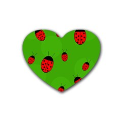 Ladybugs Heart Coaster (4 Pack)  by Valentinaart