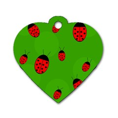 Ladybugs Dog Tag Heart (one Side) by Valentinaart