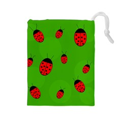 Ladybugs Drawstring Pouches (large)  by Valentinaart