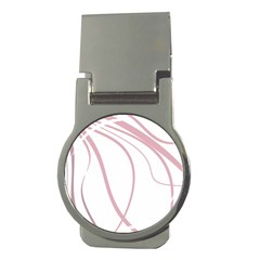 Pink Elegant Lines Money Clips (round)  by Valentinaart
