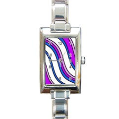 Purple Lines Rectangle Italian Charm Watch by Valentinaart