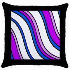 Purple Lines Throw Pillow Case (black) by Valentinaart