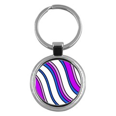 Purple Lines Key Chains (round)  by Valentinaart