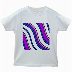 Purple Lines Kids White T Shirts by Valentinaart
