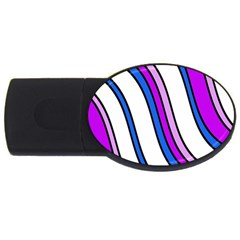 Purple Lines Usb Flash Drive Oval (2 Gb)  by Valentinaart