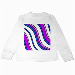 Purple Lines Kids Long Sleeve T-shirts by Valentinaart