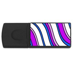 Purple Lines Usb Flash Drive Rectangular (4 Gb)  by Valentinaart