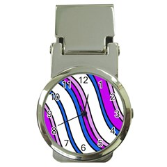 Purple Lines Money Clip Watches by Valentinaart