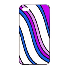 Purple Lines Apple Iphone 4/4s Seamless Case (black) by Valentinaart