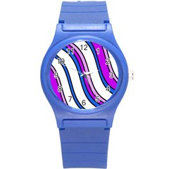 Purple Lines Round Plastic Sport Watch (s) by Valentinaart