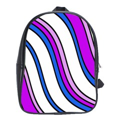 Purple Lines School Bags (xl)  by Valentinaart