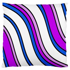 Purple Lines Large Flano Cushion Case (one Side) by Valentinaart