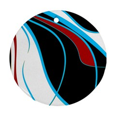 Blue, Red, Black And White Design Ornament (round)  by Valentinaart