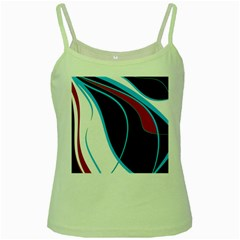 Blue, Red, Black And White Design Green Spaghetti Tank by Valentinaart