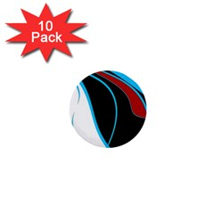 Blue, Red, Black And White Design 1  Mini Buttons (10 Pack)  by Valentinaart