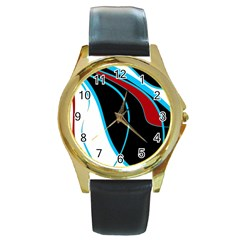 Blue, Red, Black And White Design Round Gold Metal Watch by Valentinaart
