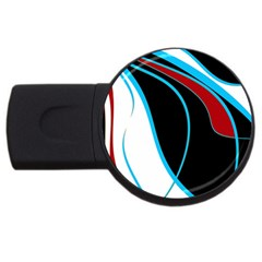 Blue, Red, Black And White Design Usb Flash Drive Round (2 Gb)  by Valentinaart