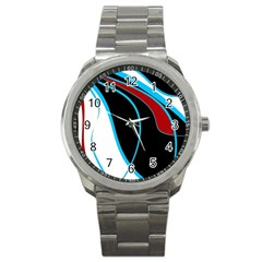 Blue, Red, Black And White Design Sport Metal Watch by Valentinaart