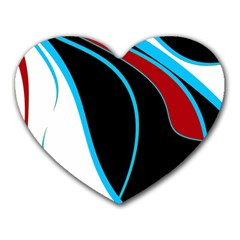 Blue, Red, Black And White Design Heart Mousepads by Valentinaart
