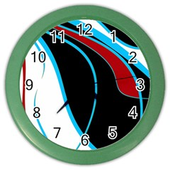 Blue, Red, Black And White Design Color Wall Clocks by Valentinaart