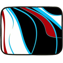 Blue, Red, Black And White Design Fleece Blanket (mini) by Valentinaart