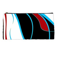Blue, Red, Black And White Design Pencil Cases by Valentinaart