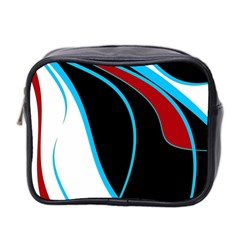 Blue, Red, Black And White Design Mini Toiletries Bag 2 Side by Valentinaart