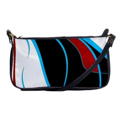 Blue, Red, Black And White Design Shoulder Clutch Bags by Valentinaart