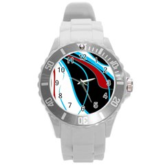 Blue, Red, Black And White Design Round Plastic Sport Watch (l) by Valentinaart