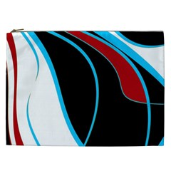 Blue, Red, Black And White Design Cosmetic Bag (xxl)  by Valentinaart