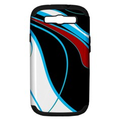 Blue, Red, Black And White Design Samsung Galaxy S Iii Hardshell Case (pc+silicone) by Valentinaart