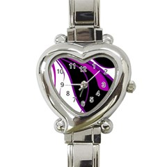 Purple Elegant Lines Heart Italian Charm Watch by Valentinaart