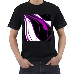 Purple Elegant Lines Men s T-shirt (black) (two Sided) by Valentinaart