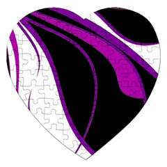 Purple Elegant Lines Jigsaw Puzzle (heart) by Valentinaart