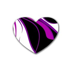 Purple Elegant Lines Rubber Coaster (heart)  by Valentinaart