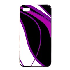 Purple Elegant Lines Apple Iphone 4/4s Seamless Case (black) by Valentinaart