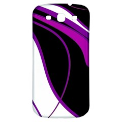 Purple Elegant Lines Samsung Galaxy S3 S Iii Classic Hardshell Back Case by Valentinaart