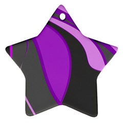 Purple Elegant Lines Ornament (star)  by Valentinaart