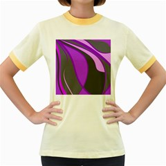 Purple Elegant Lines Women s Fitted Ringer T Shirts