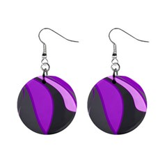 Purple Elegant Lines Mini Button Earrings by Valentinaart