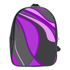 Purple Elegant Lines School Bags (xl)  by Valentinaart