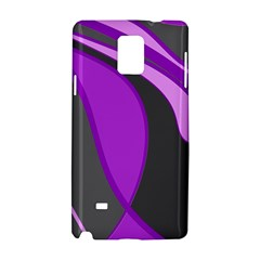 Purple Elegant Lines Samsung Galaxy Note 4 Hardshell Case by Valentinaart
