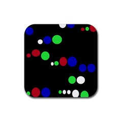 Colorful Dots Rubber Coaster (square)  by Valentinaart