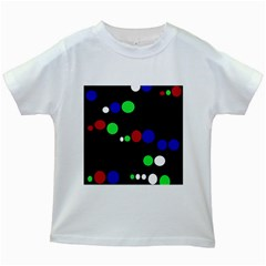 Colorful Dots Kids White T-shirts by Valentinaart
