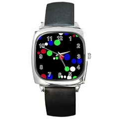 Colorful Dots Square Metal Watch by Valentinaart