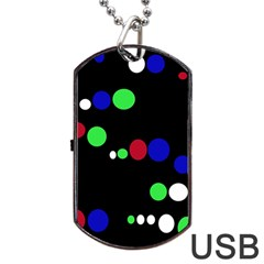 Colorful Dots Dog Tag Usb Flash (two Sides)  by Valentinaart
