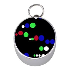 Colorful Dots Mini Silver Compasses by Valentinaart