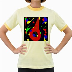 Abstract Guitar  Women s Fitted Ringer T Shirts by Valentinaart
