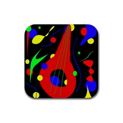 Abstract Guitar  Rubber Coaster (square)  by Valentinaart