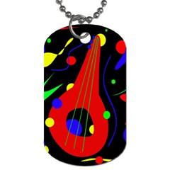 Abstract Guitar  Dog Tag (two Sides) by Valentinaart